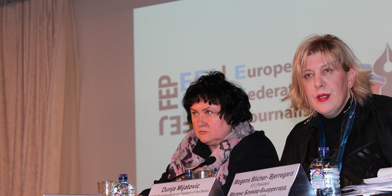 (on the right) Dunja Mijatović, the OSCE Representative on Freedom of the Media gave the keynote speech at the EFJ Annual Meeting in Moscow on 20 November. © EFJ/Yuk Lan Wong