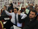 Delegates at the EFJ Annual Meeting in Moscow casting votes on the motions.  © RUJ
