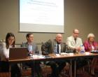 Photo of Panel 1 with Seamus Dooley Irish Secretary National Union of Journalists speaking