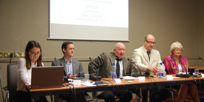 Photo of Panel 1 with Seamus Dooley Irish Secretary National Union of Journalists speaking