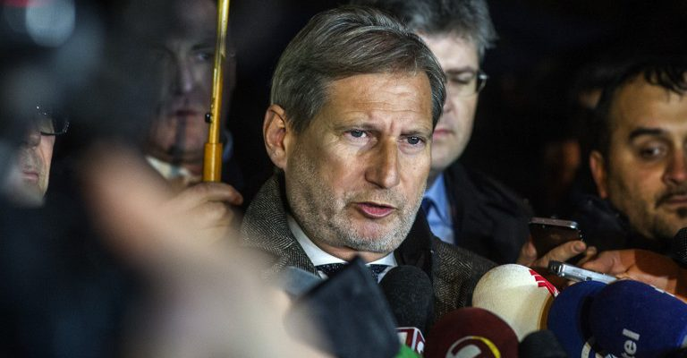 European Commissioner for European Neighbourhood Policy and Enlargement Negotiations Johannes Hahn talks to the media in Skopje on January 16, 2016.  Commissioner Hahn said that the negotiations between the four biggest political parties on implementing last year's political agreement have failed. Macedonia's Prime Minister Nikola Gruevski handed in his resignation on January 15, paving the way for an early election in April in line with an EU-brokered deal to end a political crisis. The move came as Hahn arrived in Skopje to encourage political parties to stick to the agreement reached in July last year, which was designed to end months of turmoil in the Balkan nation of about 2.1 million people.  / AFP / Robert ATANASOVSKI