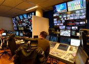 Picture taken on August 31 2016, shows the Franceinfo's TV production control room, at the Maison de la Radio, the French public service radio broadcaster Radio France's headquarters in Paris. Franceinfo, formerly a 24-hour news radio station operated by Radio France, will become as of September 1, 2016 integrated into a new triple media 24-hour platform comprising of a rolling news channel, a reworked news radio station and a news website operating under the same name, the same logo and airing some shared content provided by four public broadcasting groups : France Televisions, Radio France, France 24 and the INA for archival images. The new public news channel will be broadcast on channel 27 of TNT. / AFP PHOTO / BERTRAND GUAY