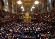 A general view shows the House of Lords chamber in session at the Houses of Parliament in London on September 5, 2016 during which Norman Fowler, the new Lord Speaker, speaks.  The House of Lords is the upper house of the UK parliament.  / AFP PHOTO / POOL / Kirsty Wigglesworth