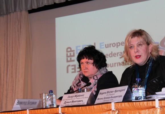 (on the right) Dunja Mijatović, the OSCE Representative on Freedom of the Media gave the keynote speech at the EFJ Annual Meeting in Moscow on 20 November. © EFJ/Yuk Lan Wong